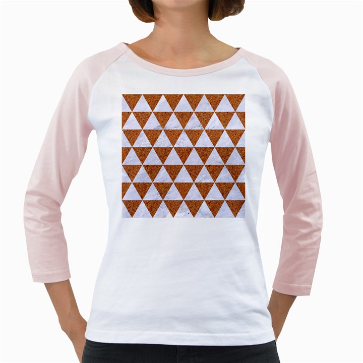 TRIANGLE3 WHITE MARBLE & RUSTED METAL Girly Raglans