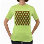 TRIANGLE3 WHITE MARBLE & RUSTED METAL Women s Green T-Shirt Front
