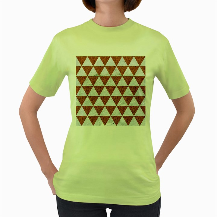 TRIANGLE3 WHITE MARBLE & RUSTED METAL Women s Green T-Shirt