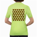 TRIANGLE3 WHITE MARBLE & RUSTED METAL Women s Green T-Shirt Back
