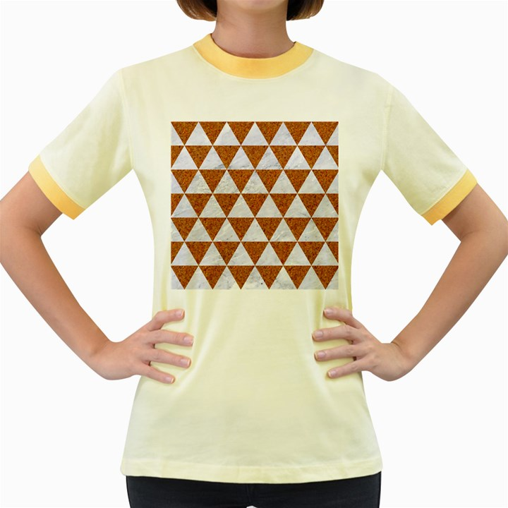 TRIANGLE3 WHITE MARBLE & RUSTED METAL Women s Fitted Ringer T-Shirts