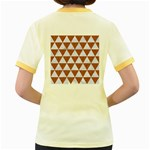 TRIANGLE3 WHITE MARBLE & RUSTED METAL Women s Fitted Ringer T-Shirts Back