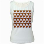 TRIANGLE3 WHITE MARBLE & RUSTED METAL Women s White Tank Top Front