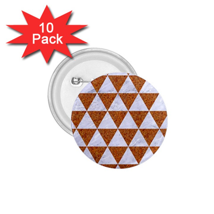 TRIANGLE3 WHITE MARBLE & RUSTED METAL 1.75  Buttons (10 pack)