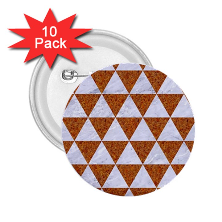 TRIANGLE3 WHITE MARBLE & RUSTED METAL 2.25  Buttons (10 pack)
