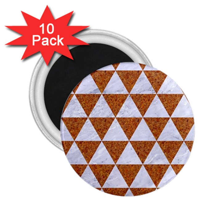 TRIANGLE3 WHITE MARBLE & RUSTED METAL 2.25  Magnets (10 pack)