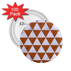 Triangle3 White Marble & Rusted Metal 2 25  Buttons (100 Pack)