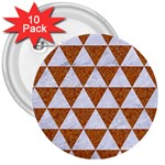 TRIANGLE3 WHITE MARBLE & RUSTED METAL 3  Buttons (10 pack)  Front