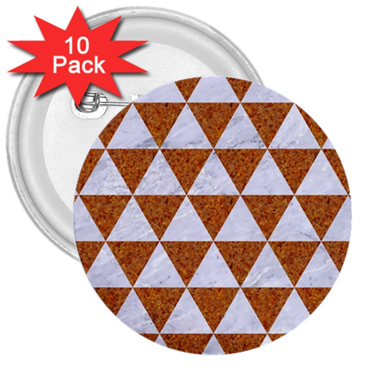 TRIANGLE3 WHITE MARBLE & RUSTED METAL 3  Buttons (10 pack)