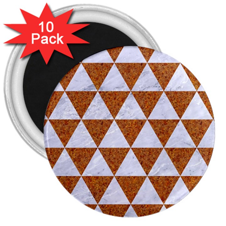 TRIANGLE3 WHITE MARBLE & RUSTED METAL 3  Magnets (10 pack)
