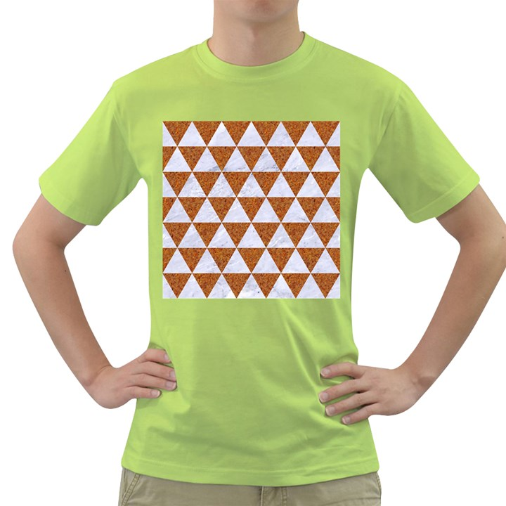TRIANGLE3 WHITE MARBLE & RUSTED METAL Green T-Shirt