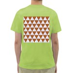 TRIANGLE3 WHITE MARBLE & RUSTED METAL Green T-Shirt Back