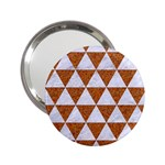TRIANGLE3 WHITE MARBLE & RUSTED METAL 2.25  Handbag Mirrors Front