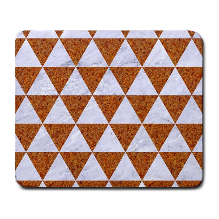 TRIANGLE3 WHITE MARBLE & RUSTED METAL Large Mousepads