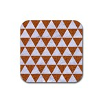 TRIANGLE3 WHITE MARBLE & RUSTED METAL Rubber Coaster (Square)  Front