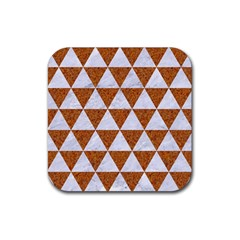 Triangle3 White Marble & Rusted Metal Rubber Square Coaster (4 Pack)