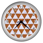 TRIANGLE3 WHITE MARBLE & RUSTED METAL Wall Clocks (Silver)  Front
