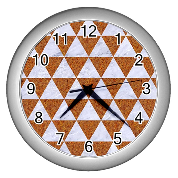 TRIANGLE3 WHITE MARBLE & RUSTED METAL Wall Clocks (Silver)