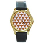 TRIANGLE3 WHITE MARBLE & RUSTED METAL Round Gold Metal Watch Front