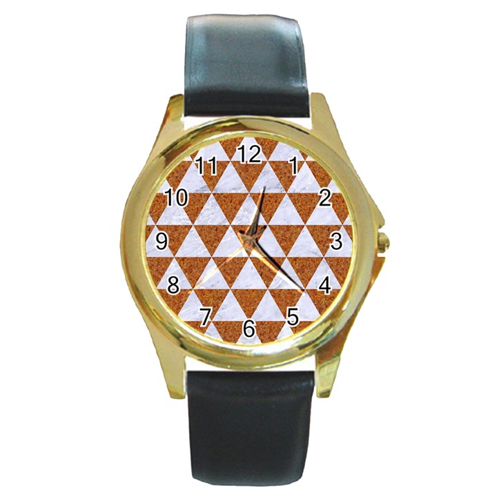 TRIANGLE3 WHITE MARBLE & RUSTED METAL Round Gold Metal Watch