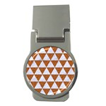 TRIANGLE3 WHITE MARBLE & RUSTED METAL Money Clips (Round)  Front
