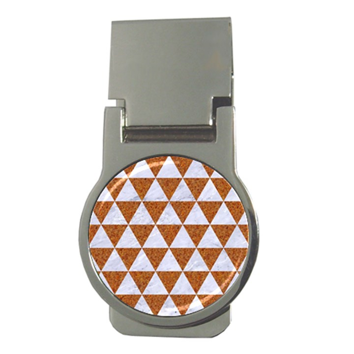 TRIANGLE3 WHITE MARBLE & RUSTED METAL Money Clips (Round)