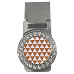TRIANGLE3 WHITE MARBLE & RUSTED METAL Money Clips (CZ)  Front
