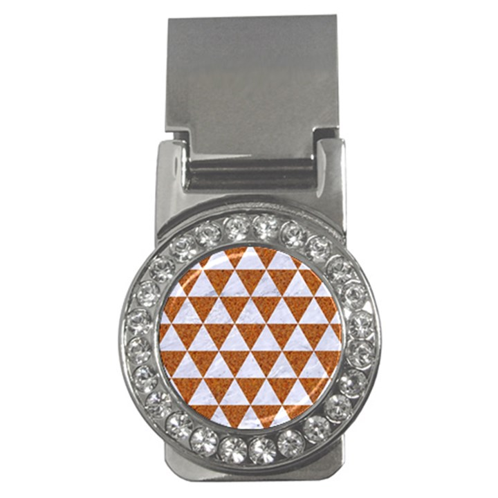 TRIANGLE3 WHITE MARBLE & RUSTED METAL Money Clips (CZ)