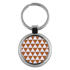 Triangle3 White Marble & Rusted Metal Key Chains (round)