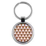 TRIANGLE3 WHITE MARBLE & RUSTED METAL Key Chains (Round)  Front