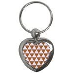TRIANGLE3 WHITE MARBLE & RUSTED METAL Key Chains (Heart)  Front