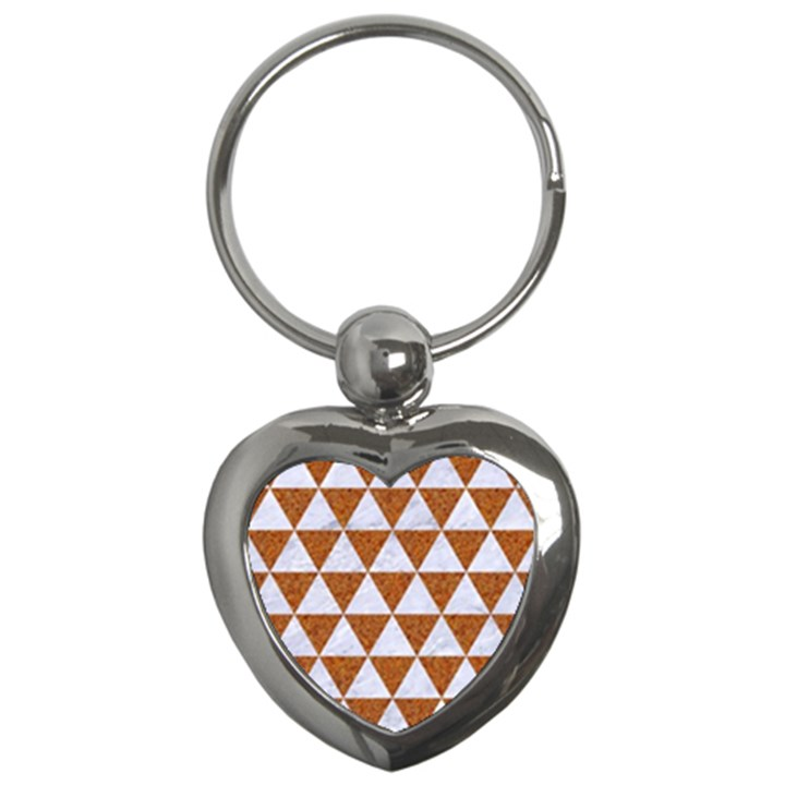TRIANGLE3 WHITE MARBLE & RUSTED METAL Key Chains (Heart)