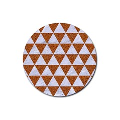 Triangle3 White Marble & Rusted Metal Rubber Coaster (round)