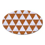 TRIANGLE3 WHITE MARBLE & RUSTED METAL Oval Magnet Front