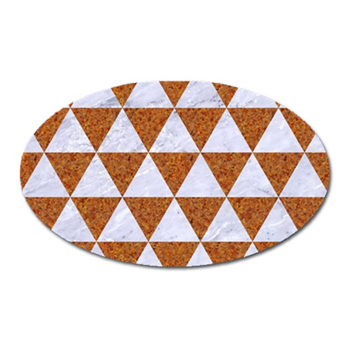 TRIANGLE3 WHITE MARBLE & RUSTED METAL Oval Magnet
