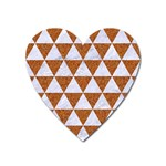 TRIANGLE3 WHITE MARBLE & RUSTED METAL Heart Magnet Front