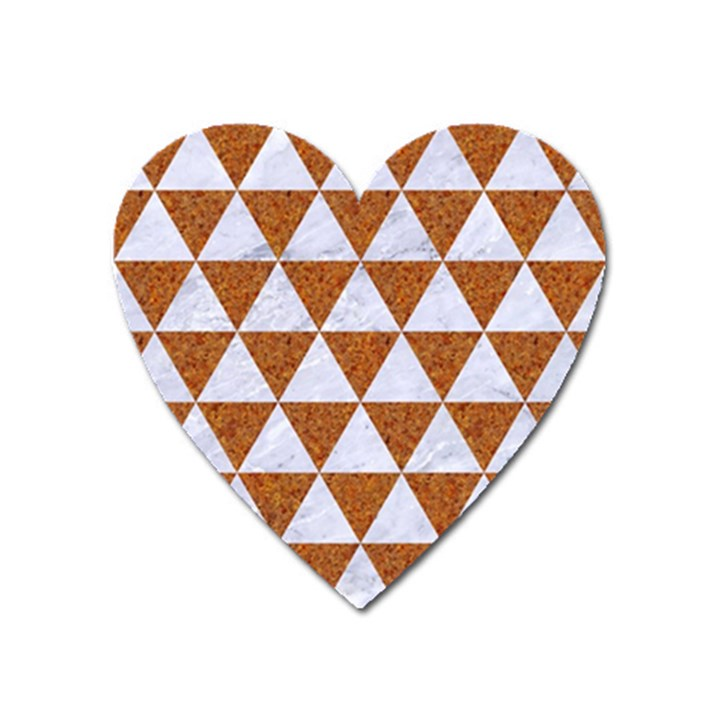 TRIANGLE3 WHITE MARBLE & RUSTED METAL Heart Magnet