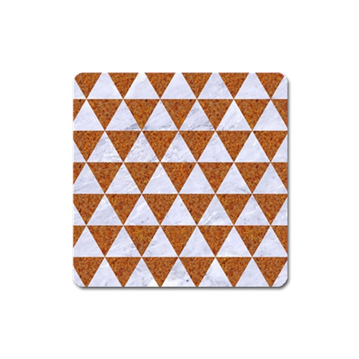 TRIANGLE3 WHITE MARBLE & RUSTED METAL Square Magnet