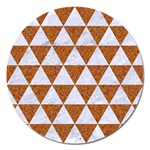 TRIANGLE3 WHITE MARBLE & RUSTED METAL Magnet 5  (Round) Front