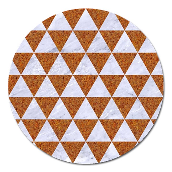 TRIANGLE3 WHITE MARBLE & RUSTED METAL Magnet 5  (Round)