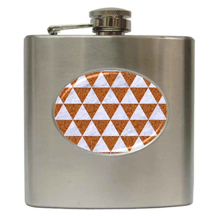 TRIANGLE3 WHITE MARBLE & RUSTED METAL Hip Flask (6 oz)