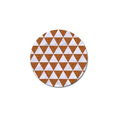 Triangle3 White Marble & Rusted Metal Golf Ball Marker
