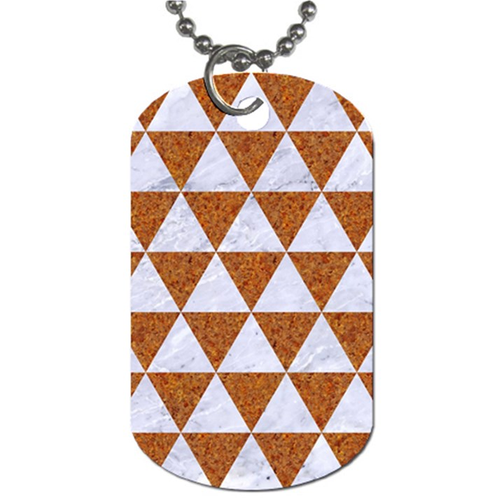 TRIANGLE3 WHITE MARBLE & RUSTED METAL Dog Tag (Two Sides)