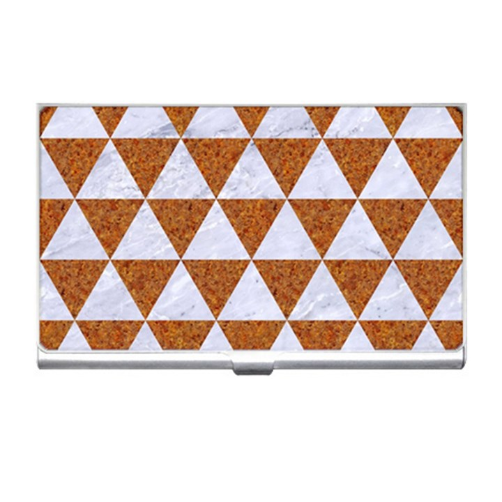 TRIANGLE3 WHITE MARBLE & RUSTED METAL Business Card Holders