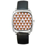 TRIANGLE3 WHITE MARBLE & RUSTED METAL Square Metal Watch Front