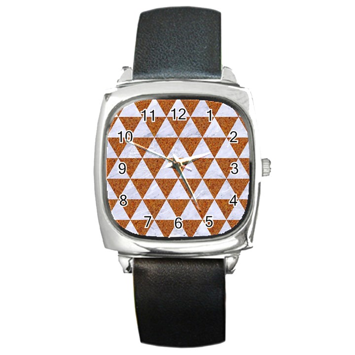 TRIANGLE3 WHITE MARBLE & RUSTED METAL Square Metal Watch