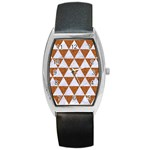TRIANGLE3 WHITE MARBLE & RUSTED METAL Barrel Style Metal Watch Front