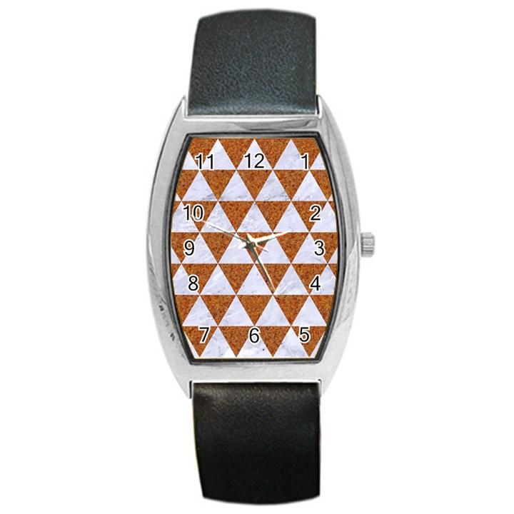 TRIANGLE3 WHITE MARBLE & RUSTED METAL Barrel Style Metal Watch