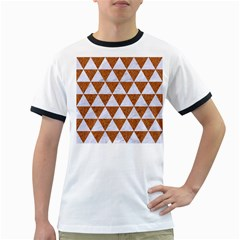 Triangle3 White Marble & Rusted Metal Ringer T Shirts