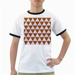 TRIANGLE3 WHITE MARBLE & RUSTED METAL Ringer T-Shirts Front